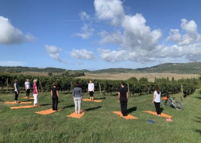 yoga in vineyard urban bikery group